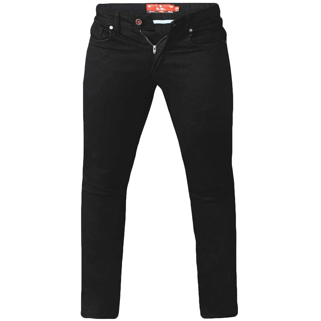 D555 Mens Claude Big Tall Slim Fit Stretch Jeans Trousers - Black