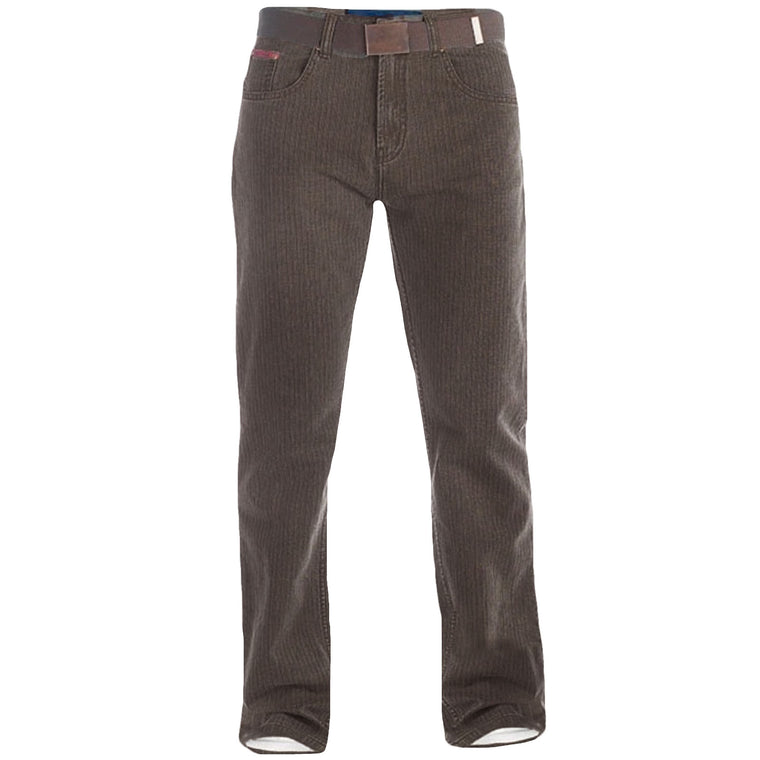 Duke London Brian King Size Cord Jeans With Belt - Brown