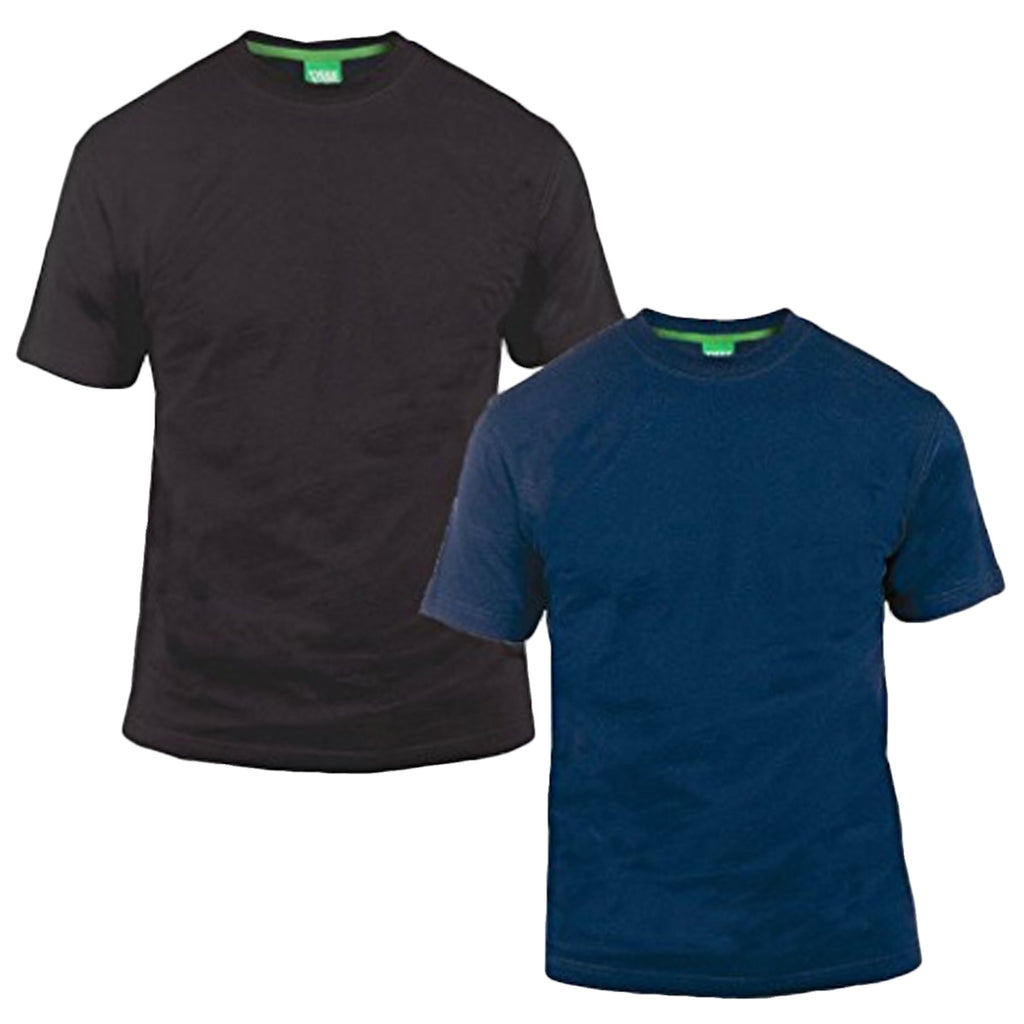 Duke D555 Mens King Size Big Tall 2 Pack Crew Neck T-Shirt - Black/Navy
