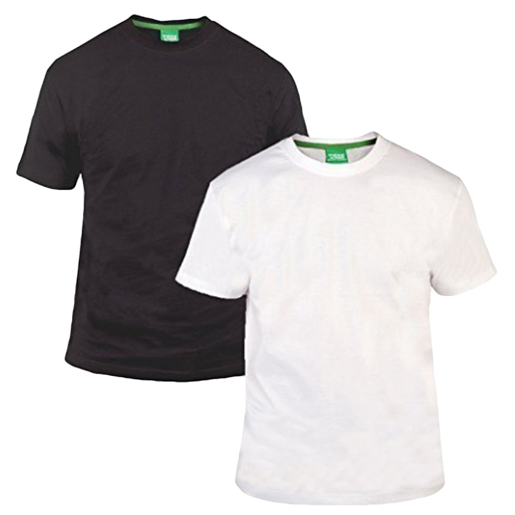 Duke D555 Mens King Size Big Tall 2 Pack Crew Neck T-Shirt - Black/White