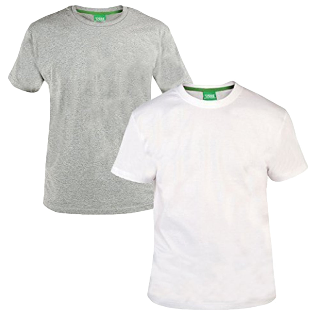 Duke D555 Mens King Size Big Tall 2 Pack Crew Neck T-Shirt - Grey/White