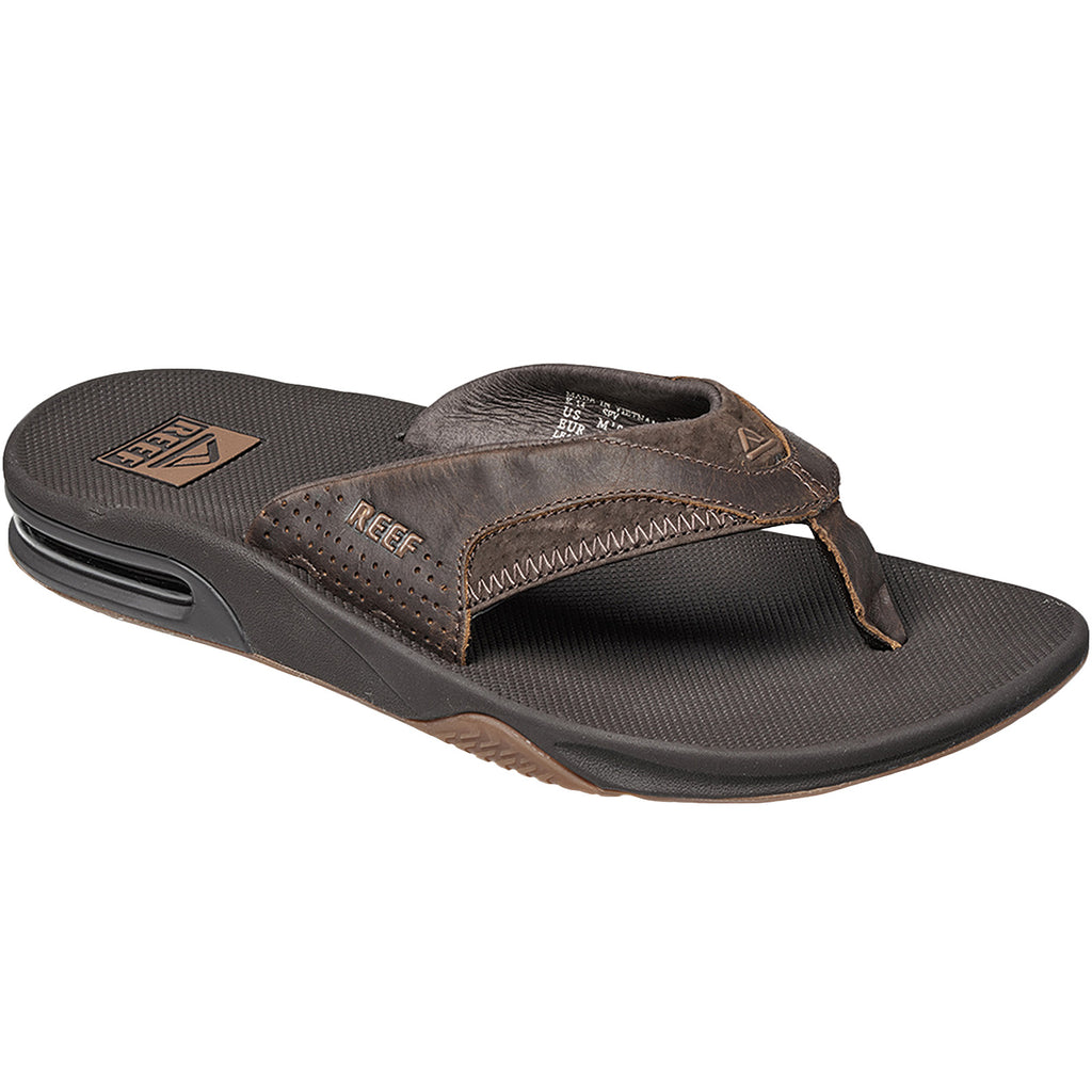 Reef Leather Fanning Flip Flops - Dark Brown