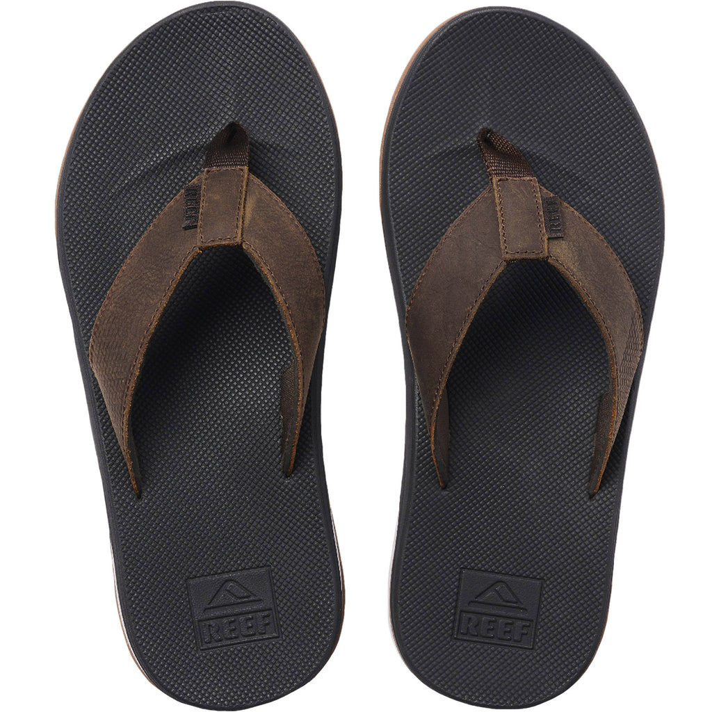 Reef Mens Leather Fanning Low Sandals - Brown