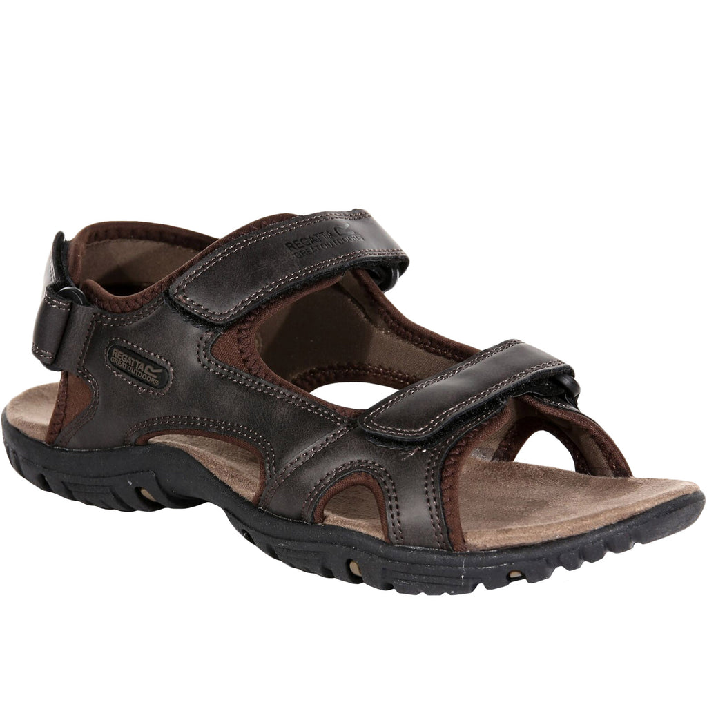 Regatta Mens Haris Leather Walking Sandals - Peat