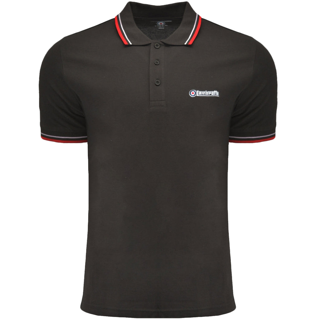 Lambretta Mens Twin Tipped Polo Shirt - Mulch/White/Red