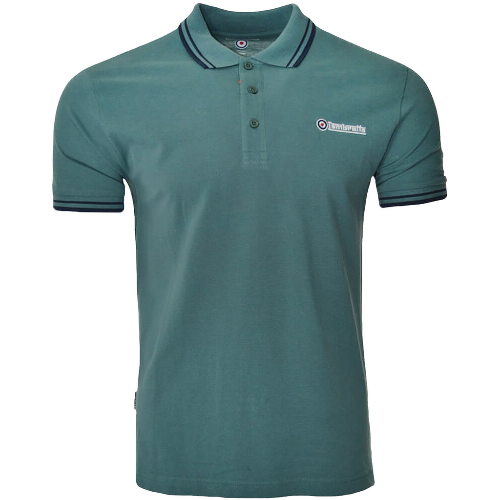 Lambretta Twin Tipped Pique Polo Shirt - Sea Pine