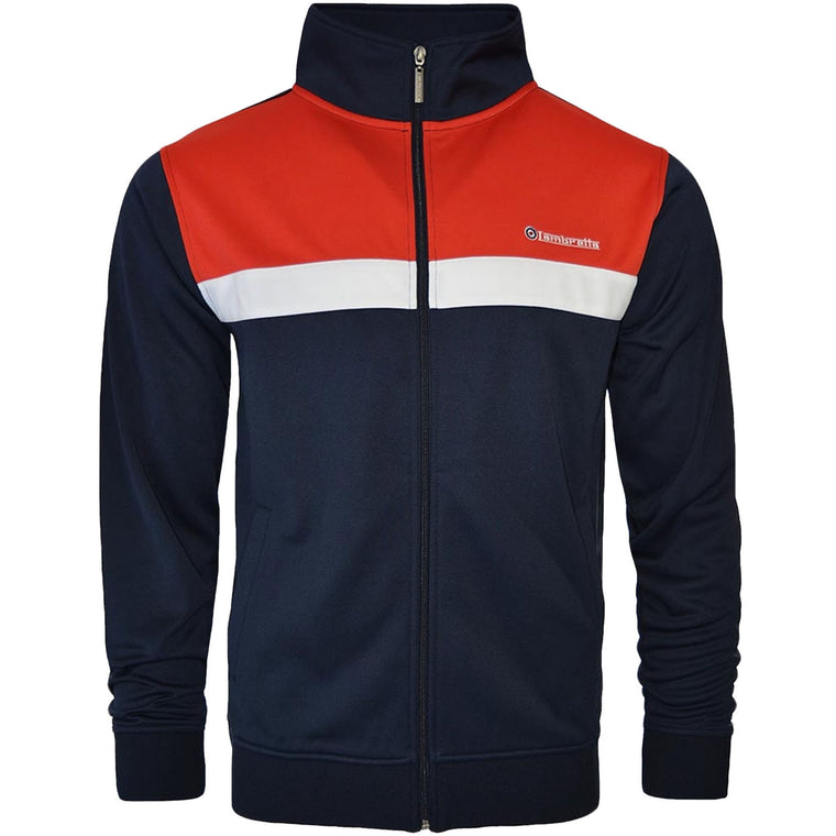 Lambretta Panel Track Jacket - Red/Navy