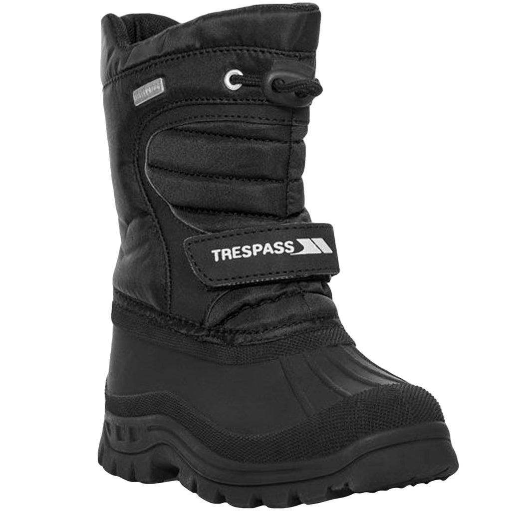 Trespass Kids Kukun Waterproof Fur Lined Snow Boots - Black
