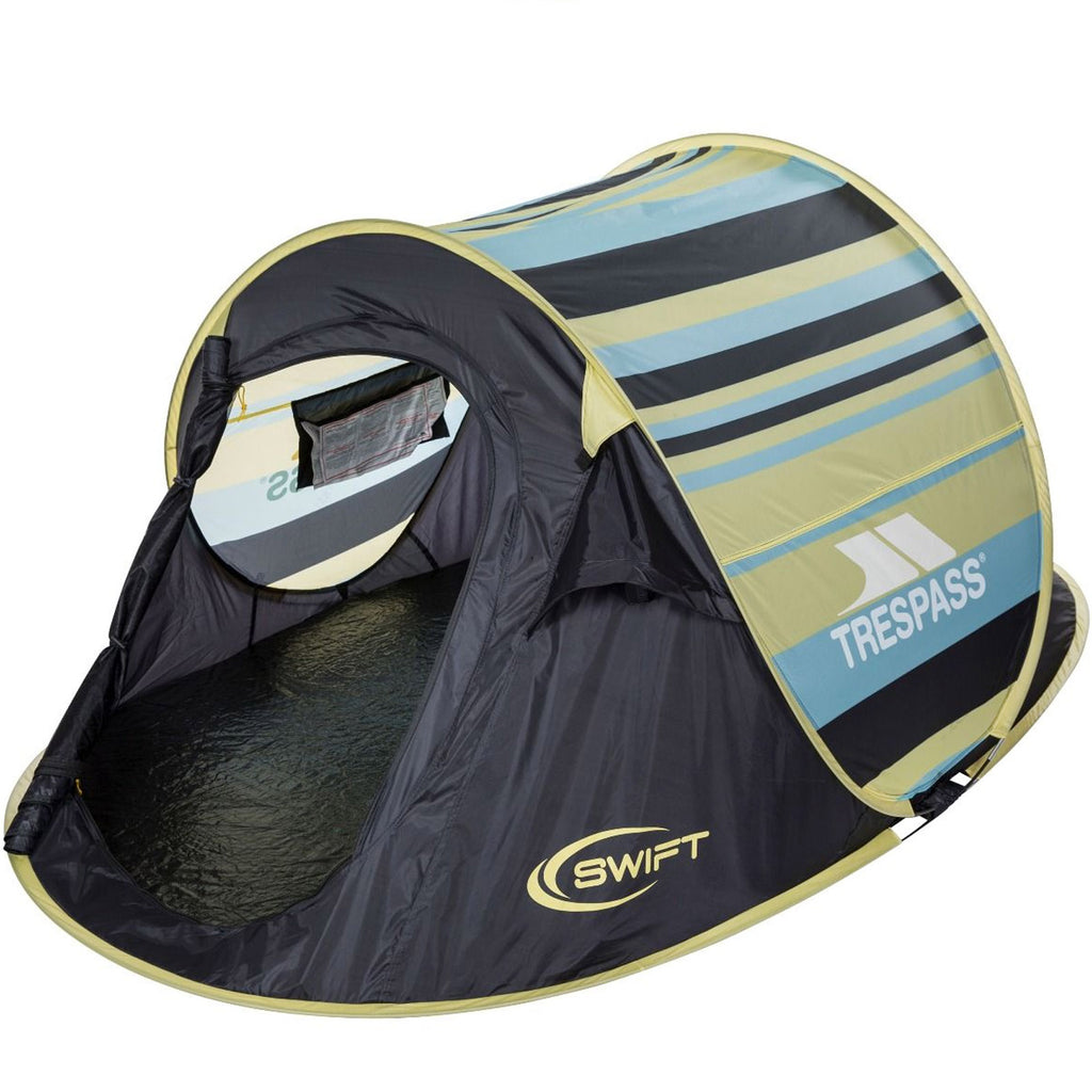 Trespass Swift2 Patterned Waterproof 2 Man Pop Up Tent - Lemon Grass