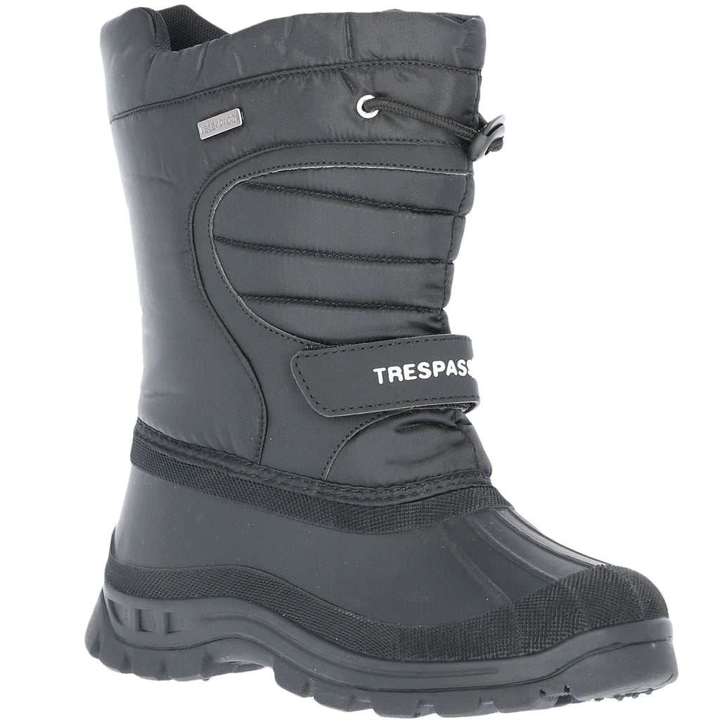 Trespass Kids Dodo Water Resistant Fleece Lined Snow Boots - Black