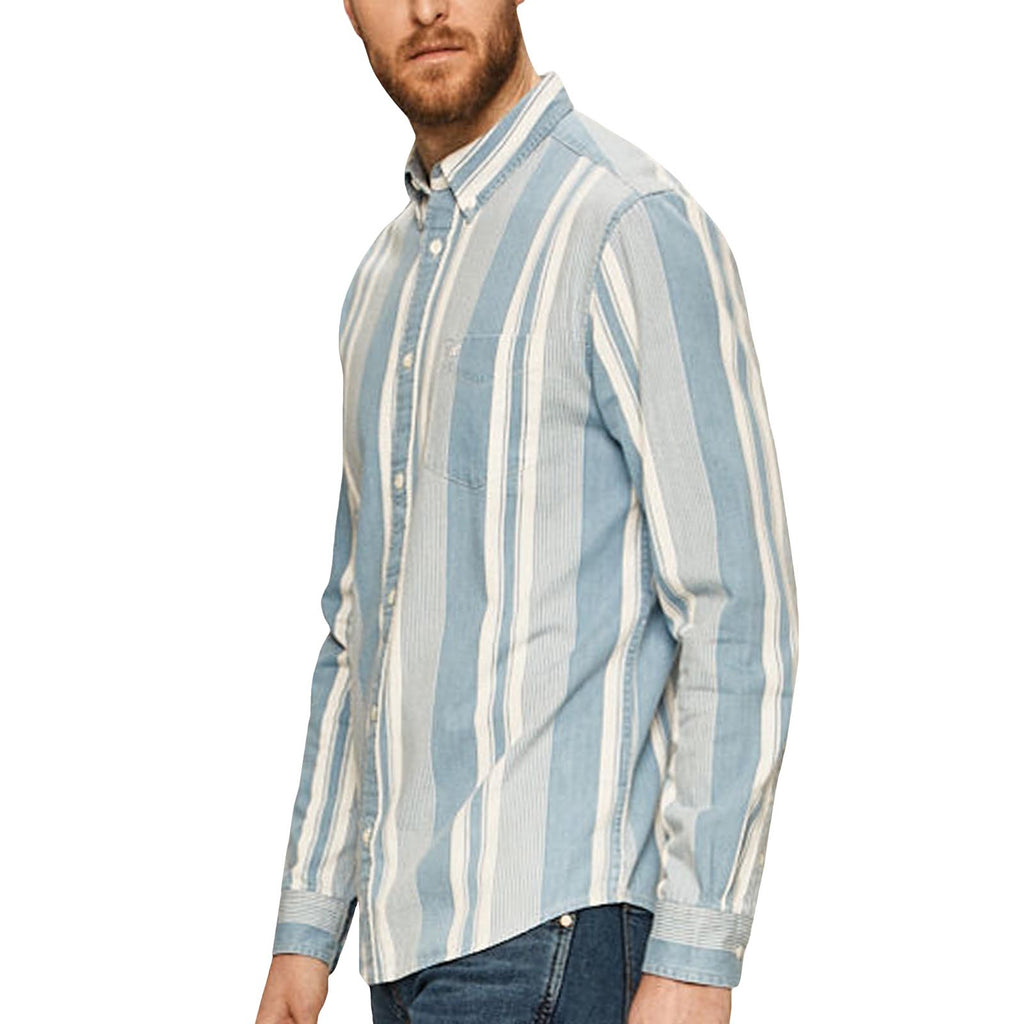 Wrangler Mens 1 Pocket Button Down Striped Shirt Top - Indigo