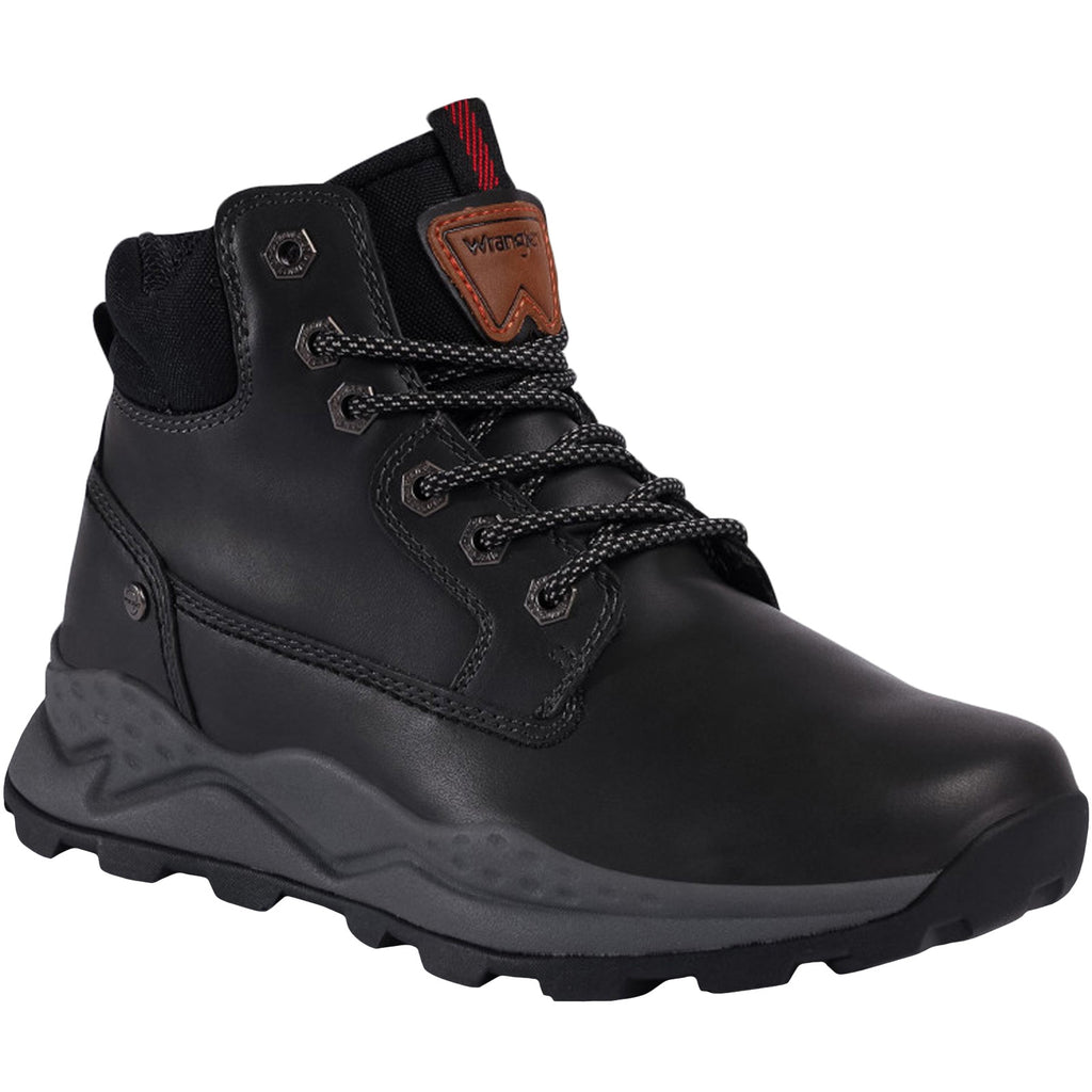 Wrangler Mens Crossy Yuma Mid Leather Walking Boots - Black