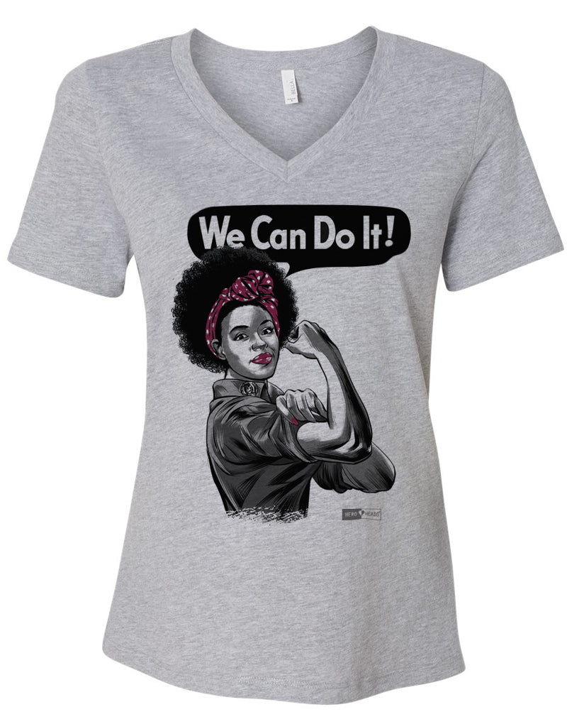 Rosie the Riveter - African American - Women's Relaxed V-Neck Tee