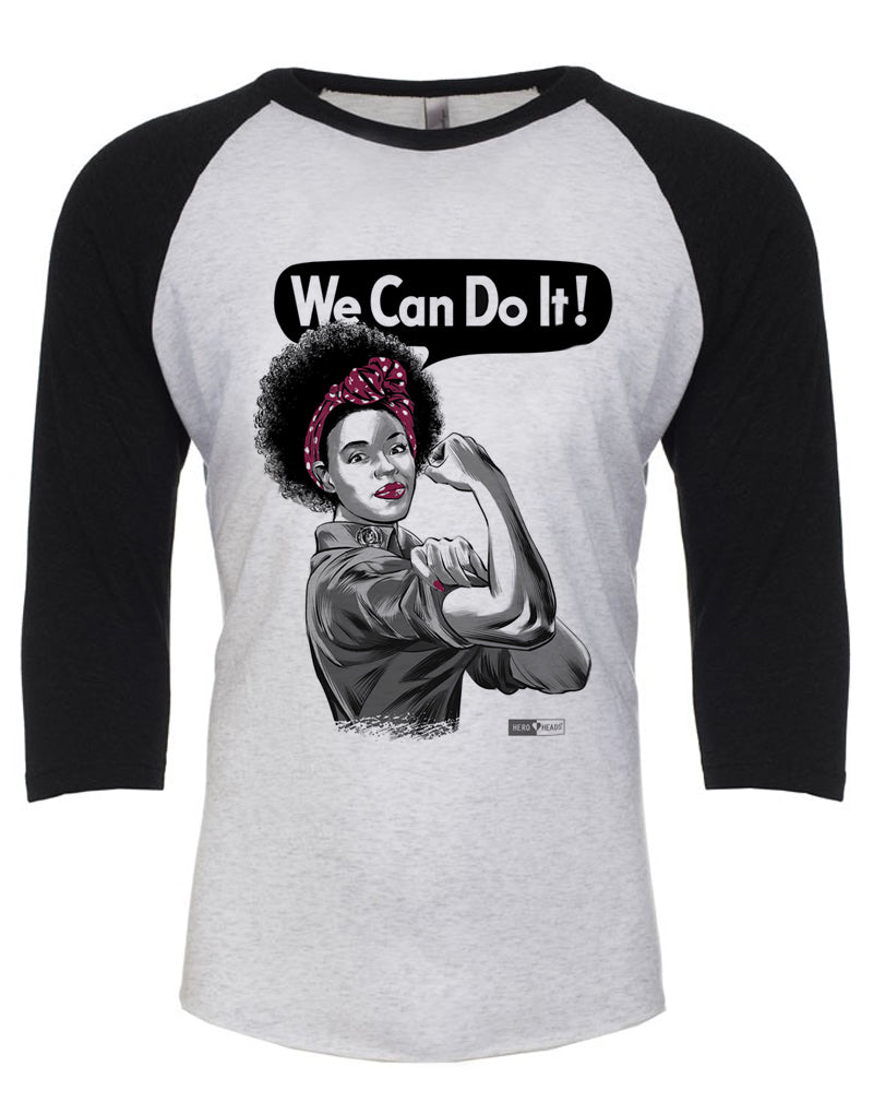 Rosie the Riveter - African American - Unisex Adult 3/4 Baseball Tee