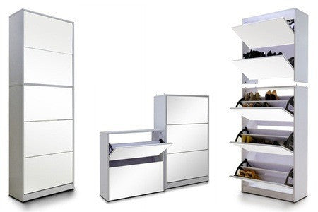 5 Level Stackable Stylish Mirrored  Shoe Cabinet For R1949.99 Including Delivery
