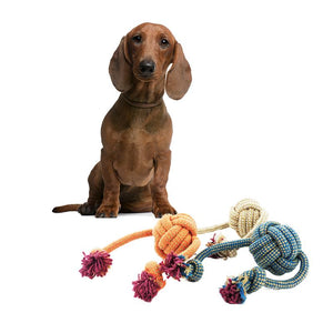 3 Pack Multi-Colour Dog Braided Tug Rope With Knot