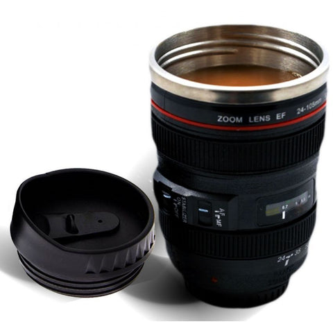 Camera Lens-Shaped Coffee Cup with Stiring Function