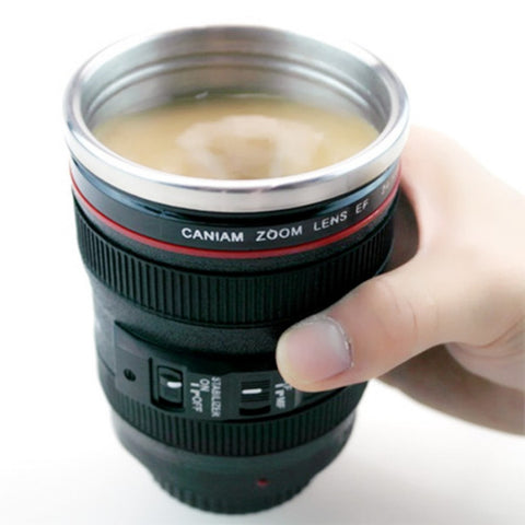 Self Stiring Camera Lens-Shaped Coffee Cup/Mug