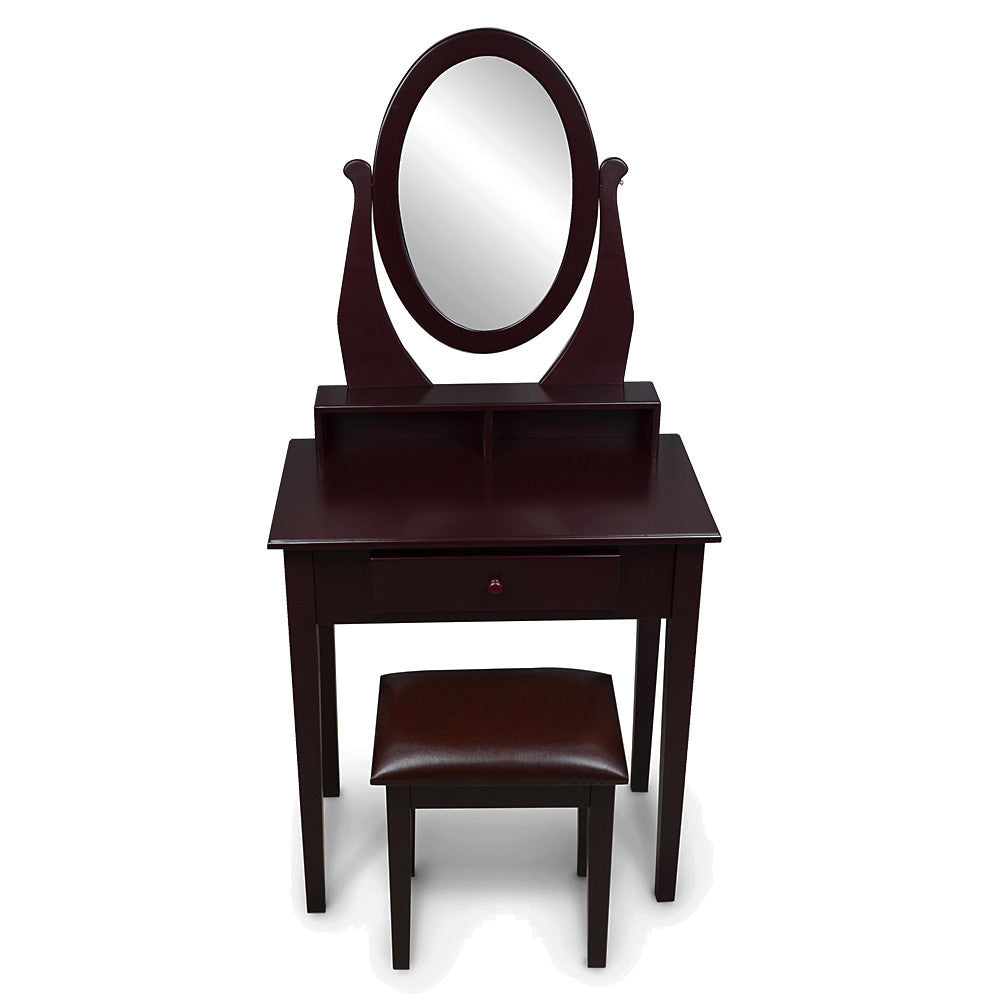 Wooden Dressing Table With Oval Mirror And Comfortable Padded PU Stool
