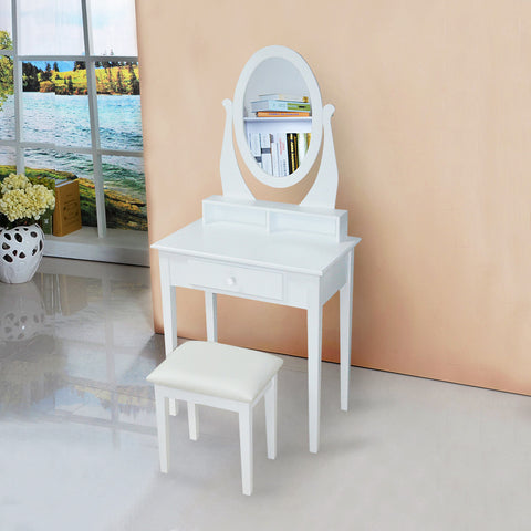 Wooden Dressing Table With Oval Mirror And Comfortable Padded PU Stool For R1449.99 Including Delivery