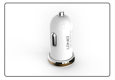 2.1A Auto-ID 2-Port USB Quick Charge Car Charger With USB Cable