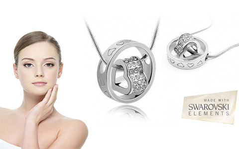 Precious Stones: White Gold Plated Heart Ring Gemstone Pendant Made With Swarovski Elements For R189.99