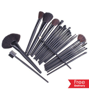 24 Make Up Brush Set with Leather Effect Bag  Including Delivery