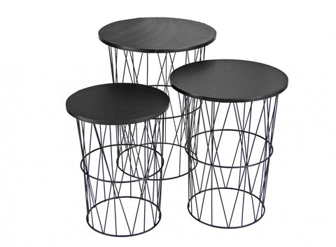 Rocco Basket Side Table Set of 3