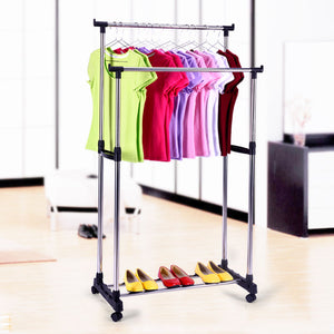 Double Pole Moveable Clothes Rack