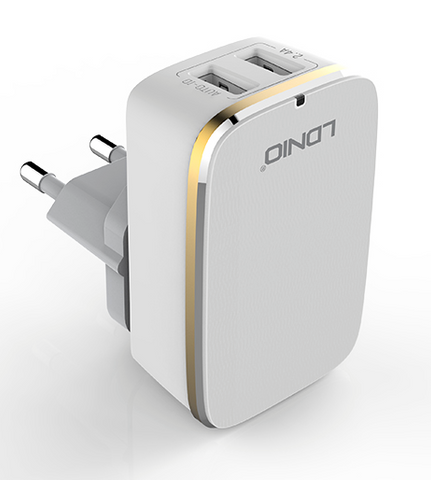 LDINO 2.4A Rapid Charge 2 USB Charger With Cable