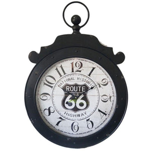 Route 66 Highway Metal Wall Clock 60CM X 6CM X 85CM - iDealDirect