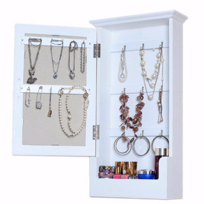 Wall Mounted Wooden Mirrored Key or Jewellery Storage Cabinet For R449.99 Including Delivery