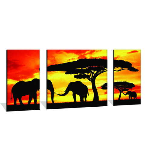 120CM x 60CM Silhouette Elephants In The Sunset Canvas Print
