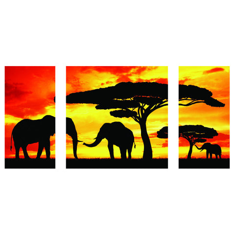 120CM x 60CM Silhouette Elephants In The Sunset Canvas Print For 199.99 Including Delivery