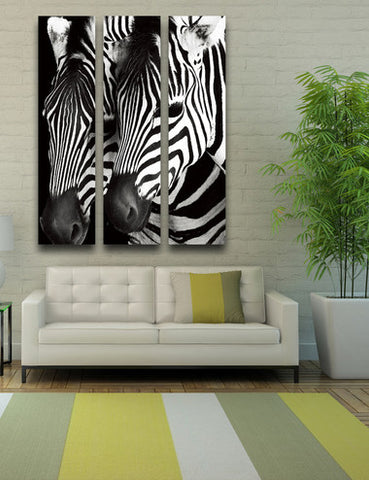 90CM x 120CM 3 Panel Black And White Zebra Canvas
