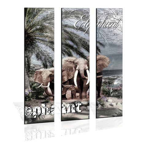 90CM x 120CM 3 Panel Canvas Elephant Prints