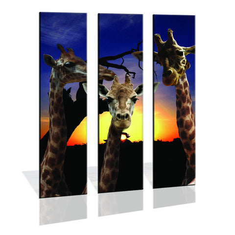 90CM x 120CM 3 Panel Giraffe Sunset Wall-Art Print