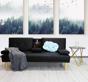 Fine Living - Isle Couch/Sleeper - PU Black