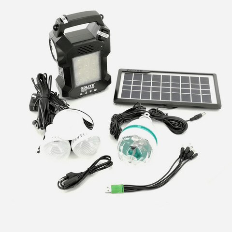 GD Lite Hand-held LED FM Radio Lantern with Solar Panel and Bulbs GD-8050