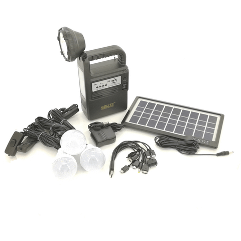 GD Lite Hand-held LED FM Radio Torch with Solar Panel and Bulbs GD-8034