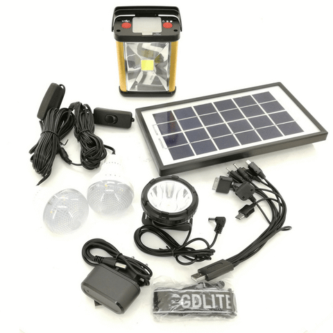 GD Lite Rechargeable Digital Lantern with Headlamp with Solar Panel and Bulbs GD-8031