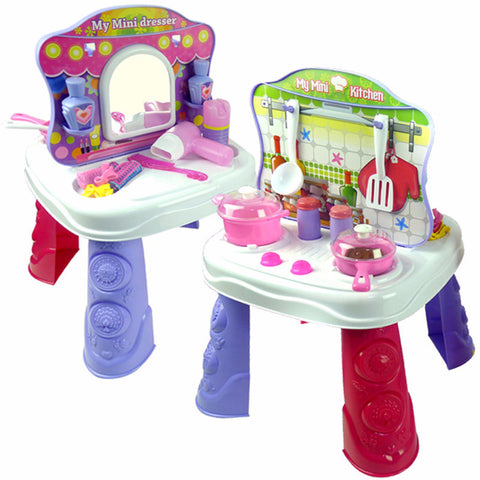 2 in 1 Girl's 26 pcs Kitchen and Dresser Set