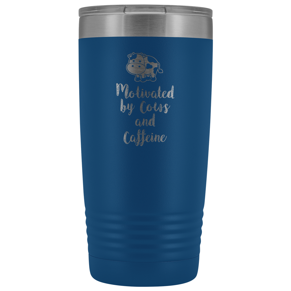 Motivated by cows and caffeine 20oz vacuum tumbler