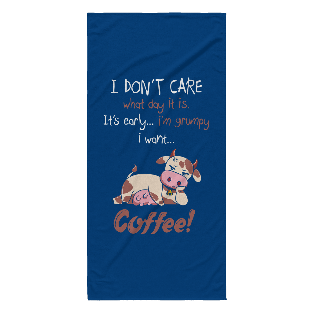 I'm grumpy I want coffee cow beach towel