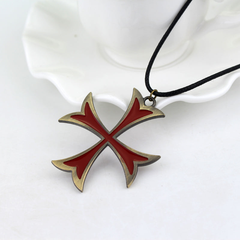 Red color templar cross pendant necklace pluto99 red color templar cross pendant necklace aloadofball Images
