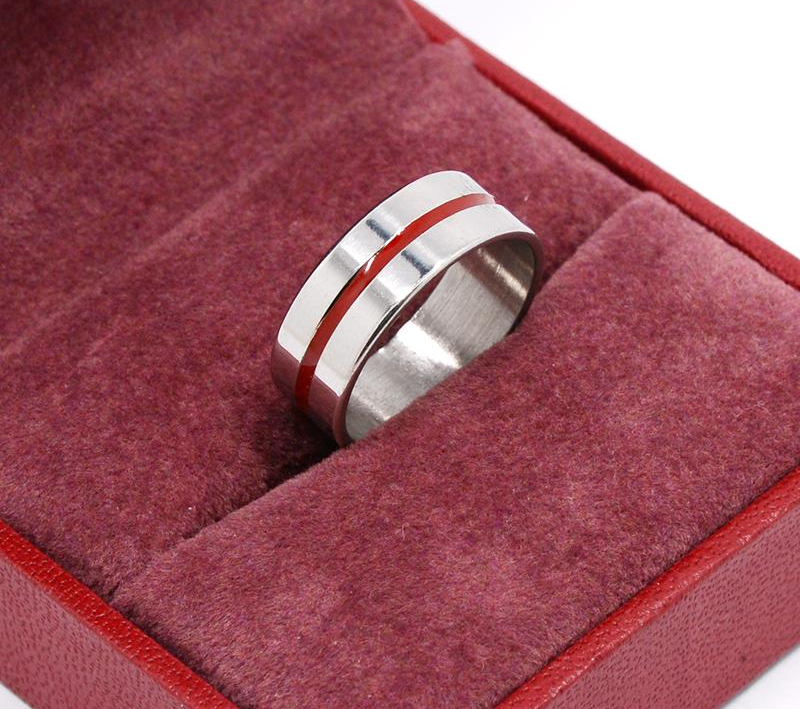 Stainless Steel Color Line Firefighter Ring
