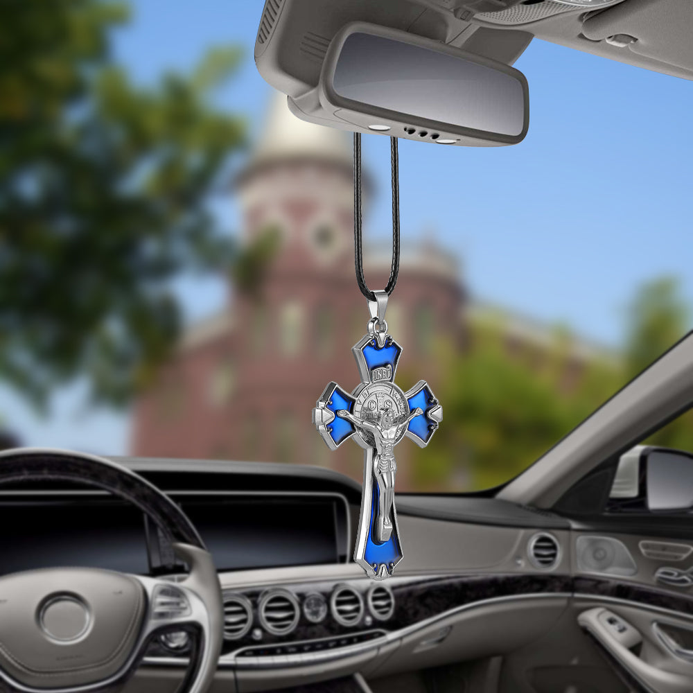 Jesus Crucifix Cross Car Rearview Mirror Hanging Ornaments Pluto99
