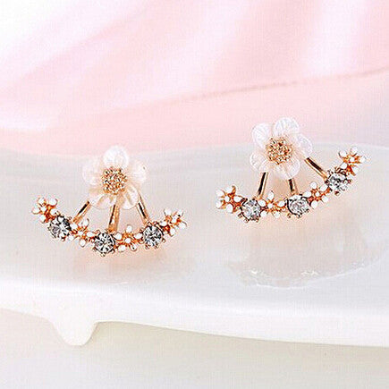 stone pink flower diamante silver earrings stud lisa angel and
