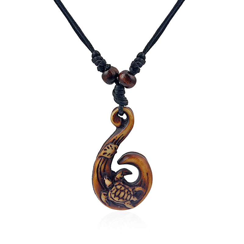 Faux Bone Hook Carved Sea Turtle Necklace Pluto99
