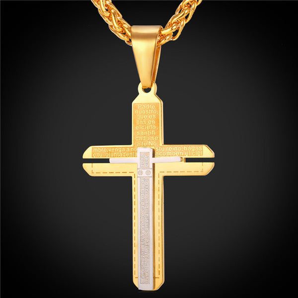 Double Layer Two Tone Cross Necklace Pluto99